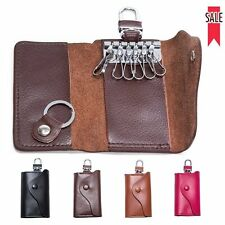 Men's Women's Genuine Leather Car Key Chain Ring Cases Holder Bag Wallet Purse