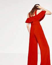 ZARA AW16 Woman Intense Red Frilled Open Off The Shoulder Jumpsuit S M BNWT