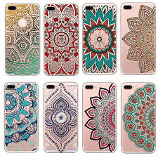 1Pcs For iPhone Floral Colorful Mandala Henna Case Silicone Hot Soft Cover Clear