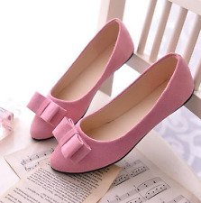 Fashion Women Lady Bow Single Shoes Suede Boat Shoes Slip On Flat Loafers Shoes