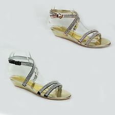 NEW WOMENS LADIES SUMMER WEDGE STRAPPY DIAMANTE SLINGBACK SANDALS SHOES SIZE 3-8
