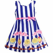 NWT Girls Dress Blue Stripe Cake Print Cotton Party Pageant Children Clothes