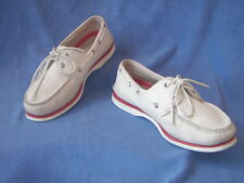 Timberland mens shoes moccasins Leather White/Red UK 8.5 EU 42.5 US 9.5