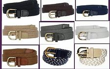 "Men's Woven Elastic Braided Stretch Golf Belt Wholesale 1-1/4"" Gold Buckle 7100"