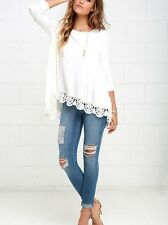 Fashion Women Long Sleeve T Shirts Cotton Lace Shirts Tops Blouses Casual White