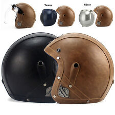 Adult Beyond Motorcycle Scooter Protector PU Leather Half Harley Helmet M99G New
