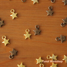 20pcs Metal Puffed Star Charms 9.5mm Antique Brass and Gold Deco Accessory DIY