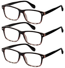 3 Pair Lot Spring Hinge Tortoise Brown Reading Glasses Strength Men Women Pack