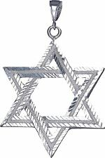 Sterling Silver Jewish Charm Star of David Pendant Necklace 3 Inches 13 Grams