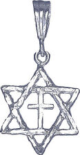 Sterling Silver Star of David and Cross Charm Pendant Necklace with Diamond Cuts