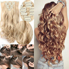 Double Weft Natural Clip in Hair Extensions 8 Piece Full Head Long As Real Hair