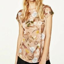 New Womens Crew Neck Floral Print Short Sleeve T-Shirt Blouse Tops Tee SML
