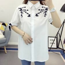 Womens Floral Embroidered Lace Mix Collar Short Sleeve Blouse Tops Shirt SML
