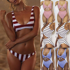 Ladies Padded Push-up Striped Bikini Set Beach Swimsuit Bathing Suit Swimwear JF