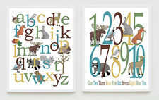 Woodland Alphabet Poster, Forest Number Wall Art, Nursery, Kids Decor, ABC, 123