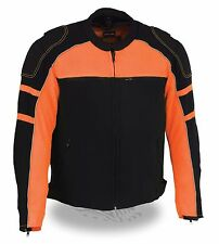 MEN'S MOTORCYCLE BLACK/ORANGE MESH RIDING JACKET W/ REMOVABLE RAIN JACKET LINER
