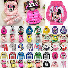 Toddler Kids Baby Girls Boys Mickey Minnie Mouse Hoodie Jacket Coat Outfits Set