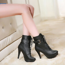 Women shoes Lace Up High Heel Platform Pumps pointed stiletto buckle Ankle Boots