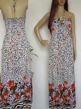 Sexy summer dress halter tube animal floral print womens maxi dress M L XL