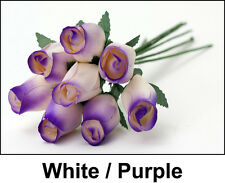 #26 WHITE/PURPLE -- 12/24/36/48 pieces Wooden Roses Buds FREE SHIPPING US SELLER
