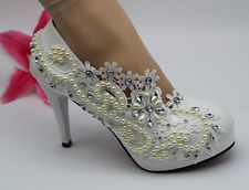 8/11cm Lace white pearl crystal Wedding shoes Bridal low high heel pump size5-10