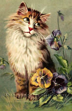 Cat Among the Pansies ~ Vintages Cats, Kittens, Flowers ~ Cross Stitch Pattern