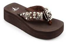 Corkys Rosemary Brown Platform Stud and Crystal Trimmed Flip Flops