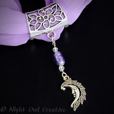 Handcrafted Scarf Ring, Man in Moon Beaded Scarf Pendant, Crystal & Glass Beads