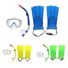 Dry Snorkel Set, Swimming Diving Snorkel / Fins / Tempered Glass Lens Mask