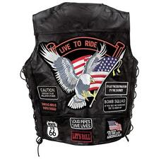 Men's Genuine Buffalo Leather Bikers Vest  Motorcycle Chopper Apparel 14 Patches