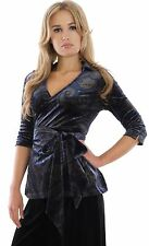 Ladies Elegant Evening Concert Top Wrap Style Paisley Blue Velvet By MontyQ