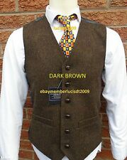 MENS WOOL  TWEED WAISTCOAT HERRINGBONE LlOYD ATTREE & SMITH S M L XL XXL
