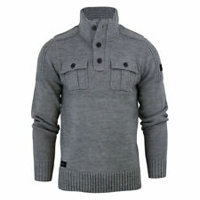 NEW Mens Dissident Andrew Funnel Jumper Neck Zip Wool Mix Sweater
