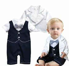 Baby Toddler Boy Wedding Christening Tuxedo White Suit Outfit Clothes+Jacket Set
