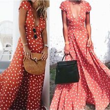 Vintage Women's Boho V Neck Long Maxi Dress Summer Evening Beach Party Sundress