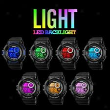 Mens Colorful 7 LED Digital Date Alarm Waterproof Sports Army Quartz Watch