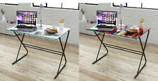 Glass Table Top Computer Desk Iron Frame Contemporary Study Home Office Furnitur