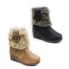 WOMENS LADIES WINTER FUR LINED MID HIGH WEDGE ANKLE BOOTS SHOES SIZE 3-8