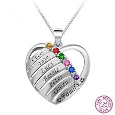 925 Sterling Silver Custom Heart Mothers Birthstone & Names Necklace