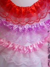 Satin Ribbon over Pleat Gathered Sparkly Lace Lace-choose Pink,Red Lilac