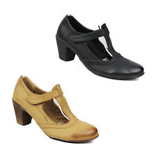 WOMENS LADIES MID HIGH CUBAN HEEL MARY JANE T-BAR COURT SHOES SANDALS SIZE 3-8