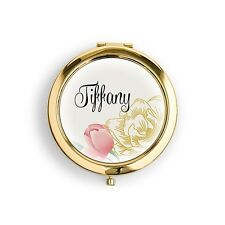 Modern Floral Personalized Compact Mirror Wedding Bridesmaid Gift Q28215