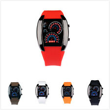 New Sports RPM Turbo Blue Flash LED Car Speedometer Meter Dial Men Gift Watch