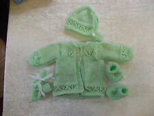 New Baby Cardigan,Hat, Booties, Mitten Set Hand Knitted 0-3 / 3-6 / 6-9 Months