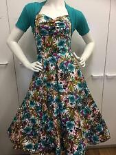 Hearts Roses Lilly Dress Tropical Rockabilly PinUp Retro Teal Floral Vintage