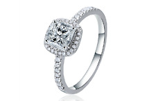Womens 2CT Princess Cut 925Sterling Silver CZ Wedding-Engagement Ring Set size