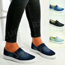 New Womens Denim Canvas Slip On Flat Trainers Ladies Casual Pump Shoes Size Uk