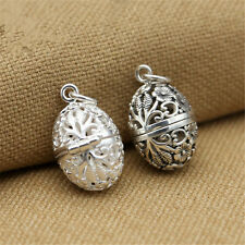Sterling Silver Oval Hollow Flower Egg Locket Pendant Necklace Wish Prayer Box
