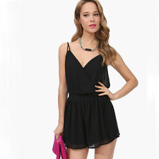 Women's Backless Hollow Out Adjustable Spaghetti Strap Chiffon Jumpsuits Rompers
