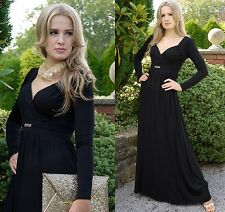 Long Casual Empire Maxi Dress Maternity Suitable Long Sleeve Evening Party Black